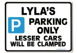 LYLA'S Personalised Parking Sign Gift | Unique Car Present for Her |  Size Large - Metal faced
